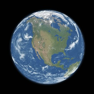 North America on blue planet Earth isolated on black background. Elements of this image furnished by NASA.